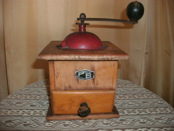 antique wood and metal table top hand crank coffee by