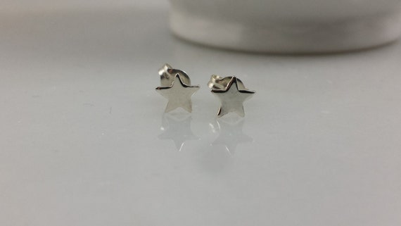 Sterling Silver Tiny Star Earrings - Tiny Silver Star Earring Pair