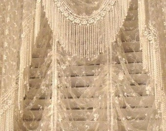 """Shabby Chic Victorian Style Lace """"Center"""" Valance - Available in Antique White or Vintage Cream colors"""