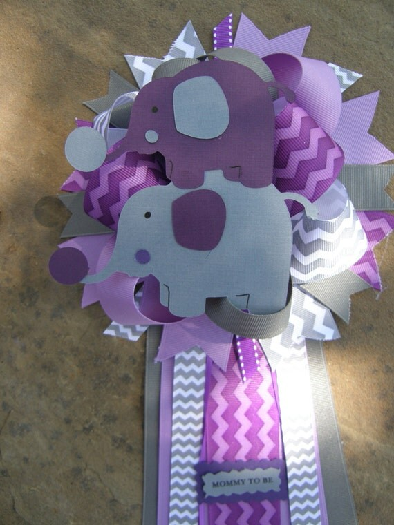 purple baby shower baby shower corsage elephant baby shower