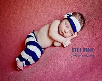 Newborn Navy and White Striped Knit Lace Pants and Headband Set, Newborn Photography Prop, Knit Pants, Headband