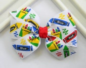 Back to School Pinwheel Bow - Back to School Hair Bow