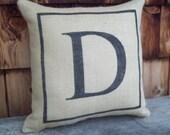 Custom Initial Pillow  - Decorative Burlap Accent Pillow - Monogram Pillow - Letter Pillow - Wedding Gift Pillow - Other Colors Available