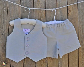 Ring bearer outfit, gray shorts and vest, many colors