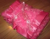 Hot Pink Minky Swirl Blanket With Satin Trim