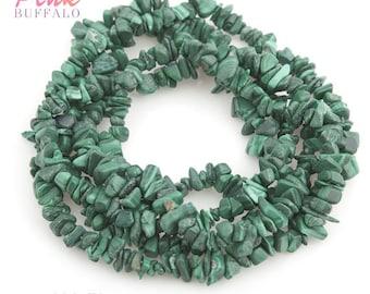 """Malachite chips small size 3-6 mm strand 36""""   A grade malachite semi precious gemstone chips wholesale price"""