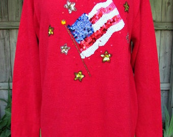 vintage quacker factory american flag sweater m patriotic sequins beads embellished sparkles