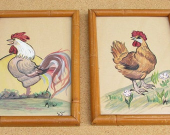 vintage 50s hand painted chicken rooster painting framed signed dated colorful original