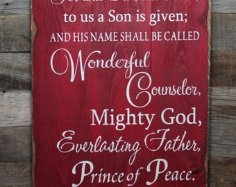 Large Wood Sign - For Unto Us A Child Is Born