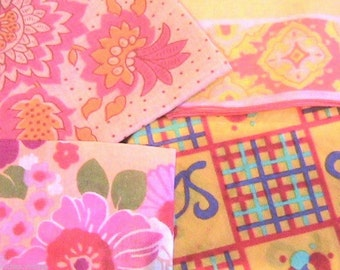 French 1960s Cotton Handkerchiefs - Bright Colors & Floral Print - Lot of 4 - MADE IN FRANCE - Brand New