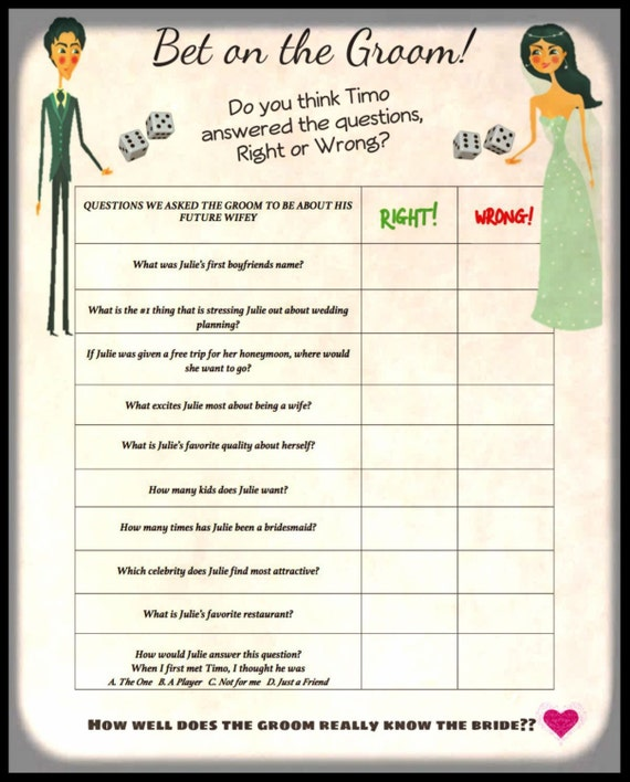 Items Similar To Wedding Shower Game-Bet On The Bride
