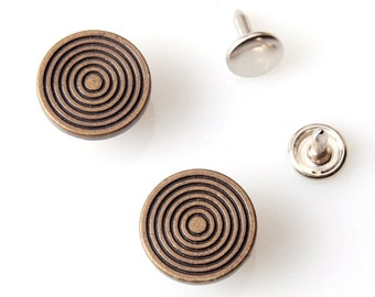 10 sets 17mm buttons denim  No Sew  jeans tack Metal buttons  Antique gold button fastener with Spiral