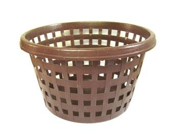 Brown Laundry Basket Plastic Clothes Hamper 1960s 1970s
