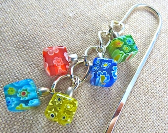 Book Mark - Millefiori White Blue Green Red Yellow Flowers - Silver Plated Chain - Silver Plated Shepherds Hook - Silver Colored Beads