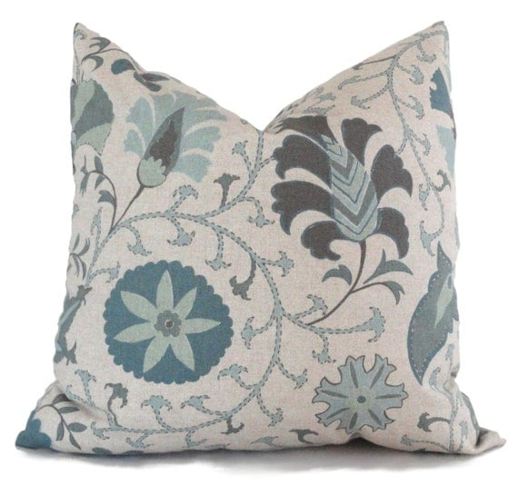 22x22 Throw Pillow Covers : Aqua and Gray Suzani Decorative Pillow Cover 18x18 20x20