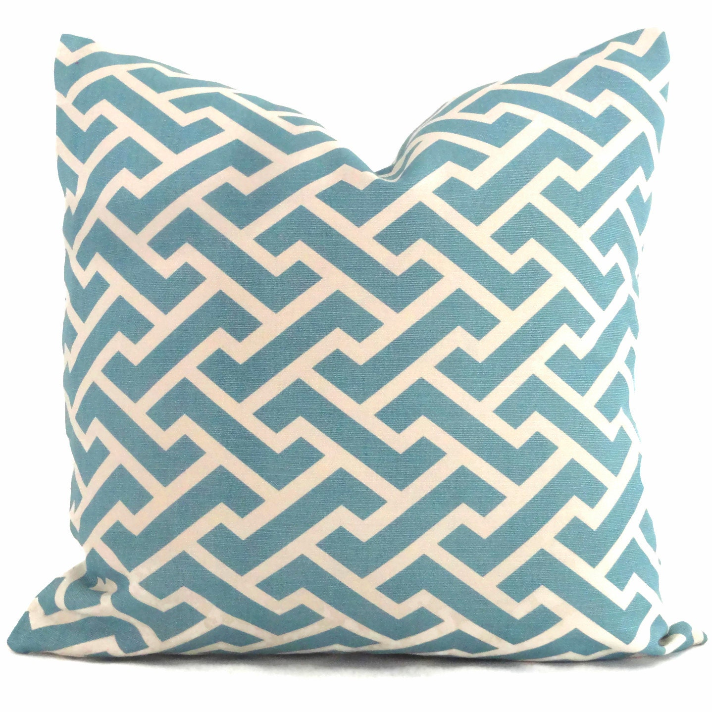Queen Throw Pillows : Aqua Aga Reverse Quadrille China Seas Pillow Cover Square