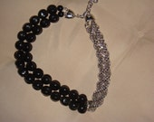 Vintage Two Strand Silver Tone and Black Bead Monet Necklace