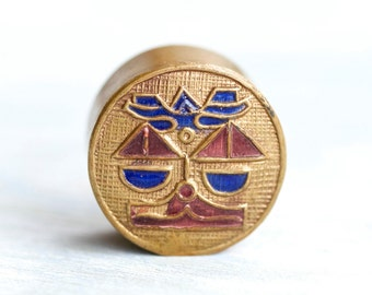 Art Deco Pill Box - Geometric Face - Enamels on Brass Snuff Box