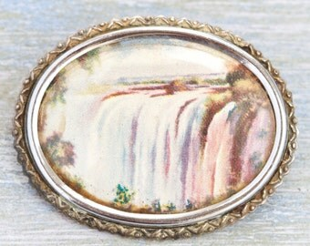 Waterfall Picture Brooch - Encased Beauty - Made in England