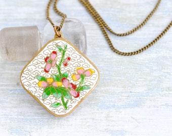 Spring Flowers Necklace - Cloisonne Colorful Flowers Pendant on Chain
