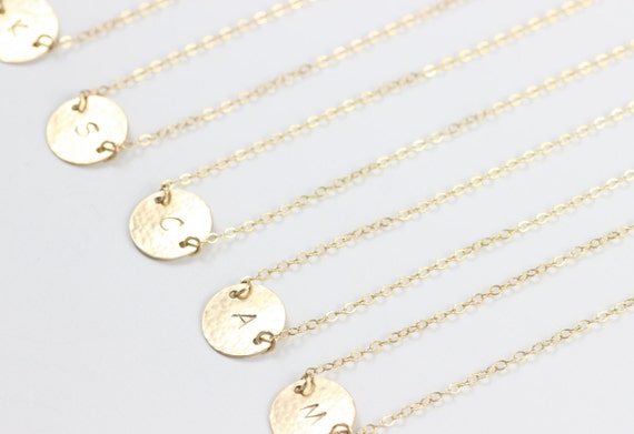 Charm Necklace, Personalized, Initials, Hammered, 14K Gold Filled