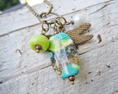 Artisan Lampwork Dragonfly Necklace Green