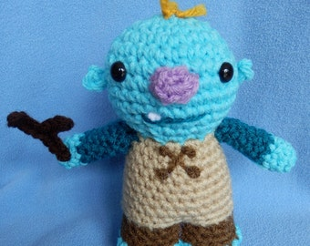 Made to order, Hand crocheted Wally Trollman like from Wallykazam with Stick monster Amigurumi Doll
