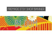 Premade Etsy Shop Banner - Bloom - floral, vintage, red, blue, black, floral, gold - made to order