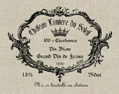 Vintage French Wine Label Instant Download Digital Image No.27 Iron-On Transfer to Fabric (burlap, linen) Paper Prints (cards, tags)