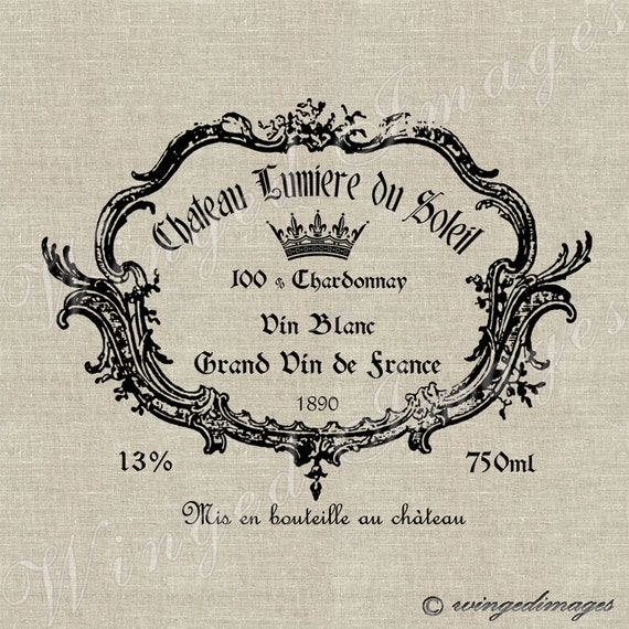 Vintage French Wine Label Instant Download Digital Image No 27 Iron-On    Vintage French Wine Labels