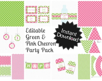 Editable Green and Pink Party Pack with Invite - Instant Download, Printable Templates - Fill in Text and Print at home .. gpc01
