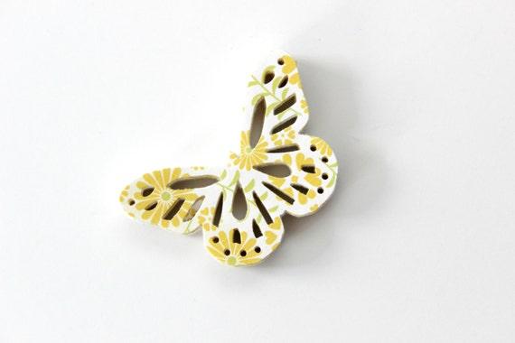 Lemon Yellow Floral Butterfly Die Cuts - Sunny Garden Flowers
