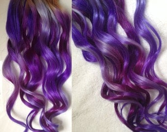 Purple Ombre Dip Dyed Hair, Clip In Hair Extensions, Tie Dye Tips, Purple Hair, Hair Wefts, Human Hair Extensions, Hippie hair