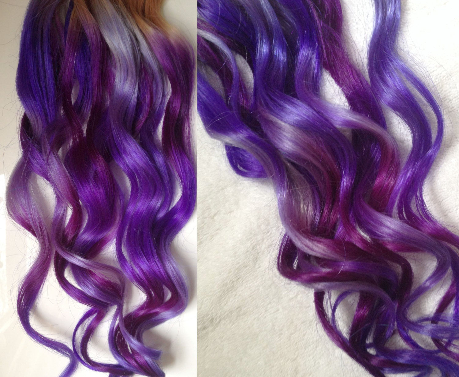Purple ombre dip dyed hair clip in hair extensions tie dye zoom pmusecretfo Image collections
