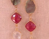 Labradorite Ruby Moonstone Gold Earrings