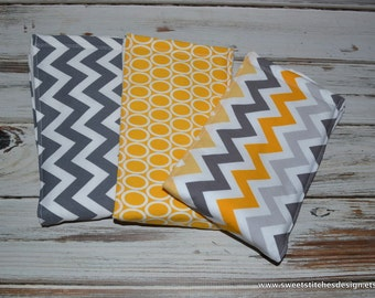 Baby Burp Cloths - Gender Neutral Baby Burp Cloths - Chevron Burp Cloths Grey and Yellow - Sweet Bee