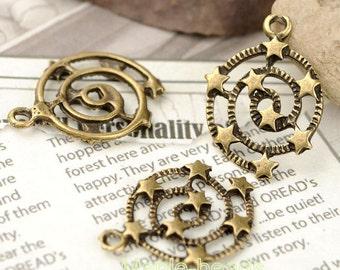 10pcs-Swirl with Stars-Antique Brass metal Charm pendant