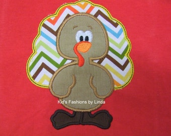 Personalized Red Long Sleeve Shirt with Tom Turkey  Applique