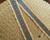 "3/8"" Vintage French Passementerie narrow braid : Gold, green, muted brick 483-01"