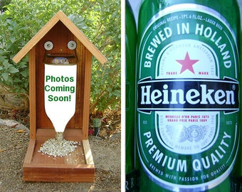 Bottle BIRD FEEDER, Beer Bottle, Recycled Beer Bottle. Upcycled, Hand Made (bird seed not included). Ready to Ship