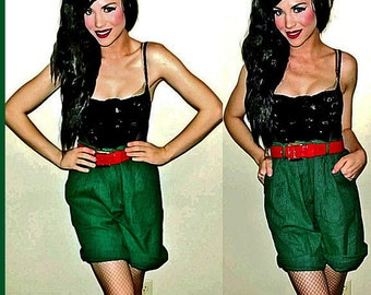 VTG 80s Green Over Sized GINGHAM High Waist HIPSTER New Wave Pleated Shorts M