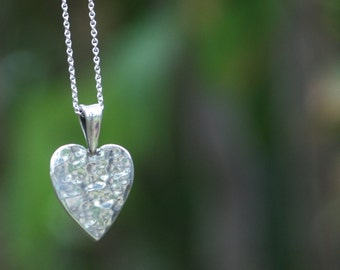 "Handmade Hammered Sterling Silver Heart with 18"" Cable Chain"