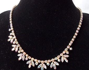 "Beautiful vintage Austrian crystals, 15"" ins necklace with extension piece. Aurora borealis. STEV13.4-13.1"