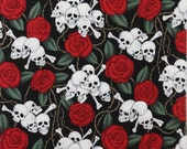 20 x 20 LAMINATED cotton fabric - Skulls with Roses (aka oilcloth coated vinyl fabric ) - Alexander Henry