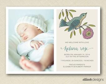 baby bird birth announcement with photo PRINTABLE digital file DIY