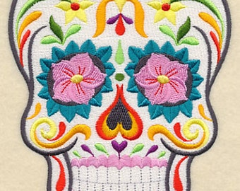 Flor Bonita Calavera Skull Mexican Culture Dia De Los Muertos Sugar Skull Embroidered Flour Sack Hand Towel