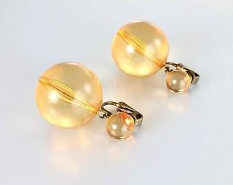 Orange Lucite Ball Earrings, Mod Dangle Beaded Earrings, Vintage 1960s jewelry