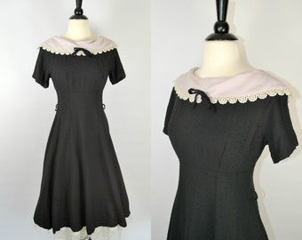 1950s Black Dotted Swiss Dress, Lavender Purple Cowl Collar, XSmall