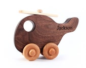 wooden HELICOPTER personalized toy -a natural, heirloom push toy for toddler and preschooler - eco-friendly with homegrown organic finish