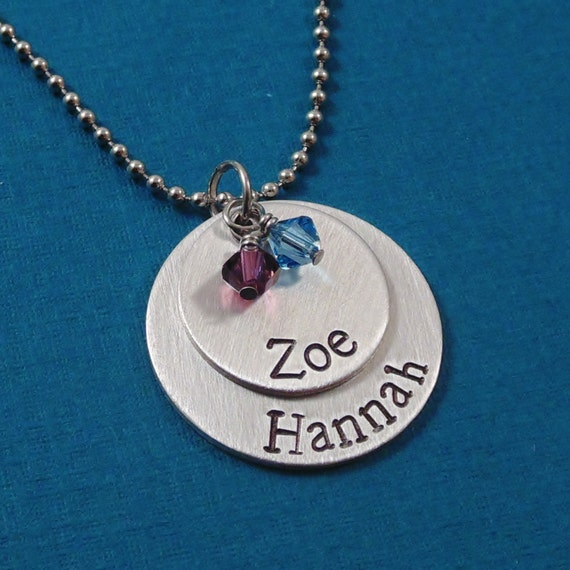 Necklace hand stamped jewelry personalized necklace mothers necklace